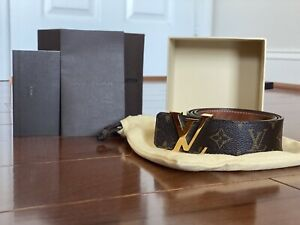 Authentic LV Initials 40MM Reversibile Belt Brown/suede Size 85cm/34inch
