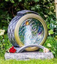 Grablicht 25cm Grablaterne Lampe Grableuchte Glas Grabschmuck Licht silber 08