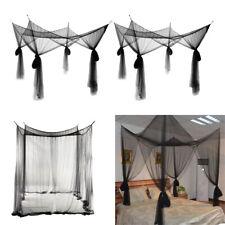 2Pcs Black Hanging 4 Corner Post Bed Canopy Drape Fine Mesh Mosquito Net