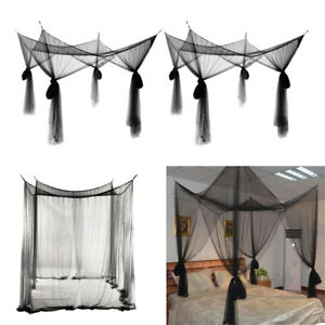 2Pcs Black Hanging 4 Corner Post Bed Canopy Drape Fine Mesh Mosquito Net