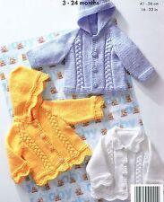 (435) Baby Boys Girls Cable Jackets Aran Knitting Pattern,16-22''