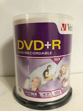 Verbatim DVD+R 100 Pack in Reclosable Case, 4.7 GB, 16X Speed, 120 Min Disc, NEW