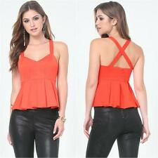 BEBE PLEAT CRISSCROSS BACK PEPLUM NEW NWT TOP SHIRT $59 XSMALL XS SMALL S 4
