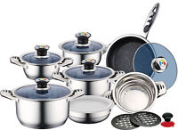 Brand New Quality Stainless Steel 16PC Sauce Pan Pot Set Marble Ceremic Pan Set