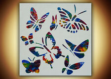 Original Butterflies Painting Impasto Texture Modern Abstract Art  on Canvas