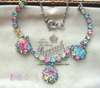 EARLY 1940s VINTAGE Tutti Frutti Pastel Crystal Rhinestone FLOWER DROP NECKLACE
