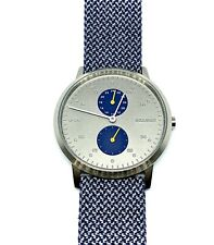 New Skagen Kristoffer Blue Recycled Woven Watch SKW6524 NWT Stainless Steel Case