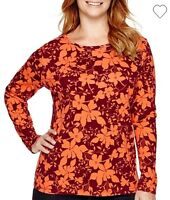 NWT St.John's Bay Women's Plus Size Long Sleeve Crewneck Top T-Shirt 2X/3X/4X