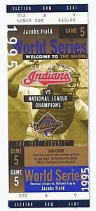 1995 World Series Full Unused Season Ticket Game 5 Braves at Indians Cleveland