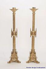 "+ Pair of Ornate Gothic 40"" tall Church Altar Candlesticks + Altar Height +"