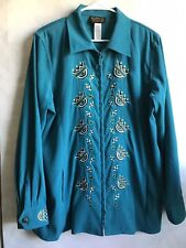 BobMackie Woman Blue Floral Embroidery Full Zippered Coat Jacket Size L