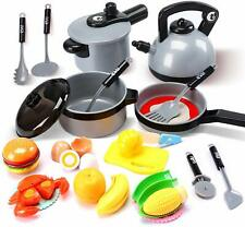 Kids Kitchen Pretend Play Toys Play Cooking Set and Cutting Play Food Toys Gift