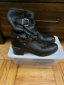 Stuart Weitzman Black Leather combat Ankle Boots Size 10