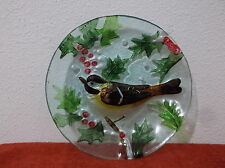 "Vintage Collector Plate Clear Green Fused Glass Hand Painted Bird.8"" Diameter"