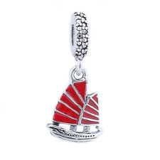 1 pcs Red Sailing Pendant Silver Crystal Charm Beads Fits European Bracelet