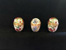 New listing 3 Halcyon Days Classic Enamel Eggs 2 Strawberry 1 butterfly, Trinket Box