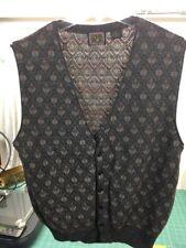 Paolo Conti Sweater Vest L Button Front Brown Multi Blend Mens Romania
