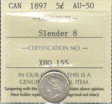1897 NARROW 8 Five Cents Silver ICCS AU-50 * Beauty HIGH Grade Queen Victoria 5¢