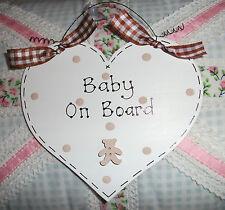 Il bambino a Bordo Personalizzata Cuore AUTO sign ~ Teddy ~ Scelta Di Colori & Nome