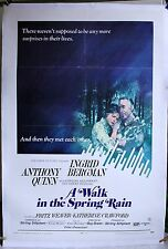 A Walk in The SPRING RAIN 1970 27 X 41+ linen  Anthony Quinn Ingrid Bergman