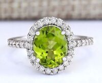925 Silver Jewelry Oval Cut Peridot Gem Women Fashion Wedding Ring Size 6-10