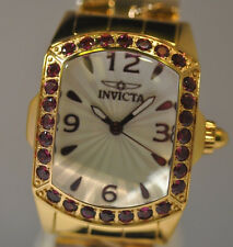 New Womens Invicta 14133 Purple Crystal Gold Tone Ladies Bracelet Watch