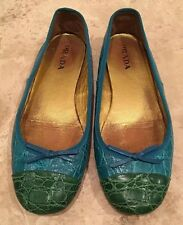 PRADA Green Teal Real Crocodile Skin Classic Ballet Flats Bows 37EU ITALY Rare!!