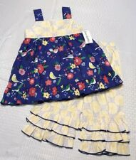 NWT Love & Lassies Boutique Girls Matilda Style Blue Floral Rumba Top Capri Set
