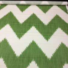 "Lee Jofa Mirasol Ivy Green White Chevron Ikat High End Fabric 5 Yards 54""w"