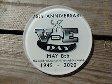 VE Day 75th Anniversary Round Glass Coaster UK Made % of sale to SSAFA  4571