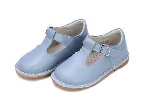 NIB LAmour Selina Dusty Blue Scallop TStrap  Maryjane Leather Shoes Girl Size 12