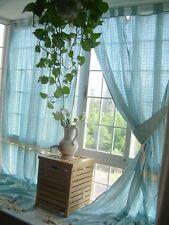 Tab Top Blue Plaid Lace Crochet Cotton Linen Curtain F007