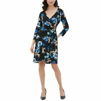 CALVIN KLEIN NEW Women's Floral-print Faux-wrap Sheath Dress TEDO