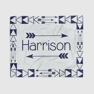 Grey and Blue Colors - Baby Newborn Blanket Monogrammed - Security and Swaddle