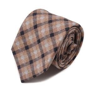Isaia Camel Tan-Light Gray-Black Layered Check Print Soft Wool Tie NWT