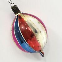 Poland Mercury Glass Vintage Christmas Ornament Fat Teardrop Hand Painted