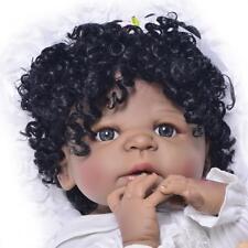 Full Silicone Vinyl Body Reborn Baby Girl Doll Black Skin Realistic Dolls Toys