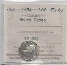 **1954**, ICCS  Graded Canadian,  10  Cent, **PL-66 Heavy Cameo**