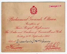RARE 1901 KING GEORGE V Ticket OTTAWA CANADA Reception MARY TECK Cornwall ROYAL