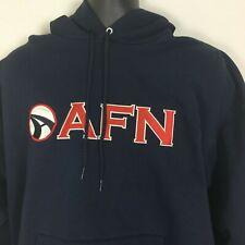 American Forces Network AFN Logistics Sweatshirt Large Navy Blue Hoodie Applique