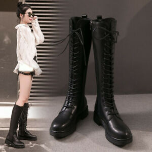 Women's Boots Zip Knee High Riding Lace Up Chuky Low Heels Combat Outdoor Boots