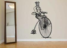 Wall Decal Room Sticker Old Fashion Retro Bicycle Riding Bike Wheel  bo2977