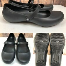 Womens CROCS Black Mary Janes Flats Loafers Shoes SIZE 11