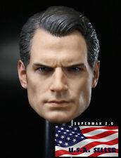 "1/6 Henry Cavill Superman Head Sculpt Clark Kent 2.0 For 12"" Hot Toys Figure"