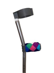 Padded Crutch Handle Covers Foam Fleece Pads Crutches Multi Rainbow Diamond