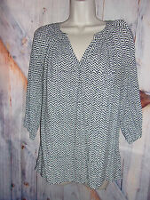 Kenar women's size L  3/4 sleeve black and white tunic blouse