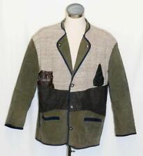 """LEATHER WOOL Coat Jacket GREEN Men LODEN German Hunting Western Sport / C51"""" XL"""