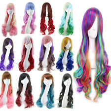 Sexy Long Curly Wig Fashion Cosplay Costume Anime Hair Full Wavy Multi-Color Wig