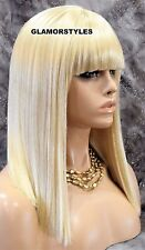 Long Straight With Bangs Bleach Blonde Full Wig Hair Piece #613 NWT