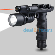 Tactical Fore Grip Handle Flashlight Red Laser Combo Sight W/ Weaver Rail Mount